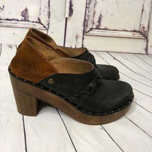 FREE PEOPLE wooden suede leather braid clog heels